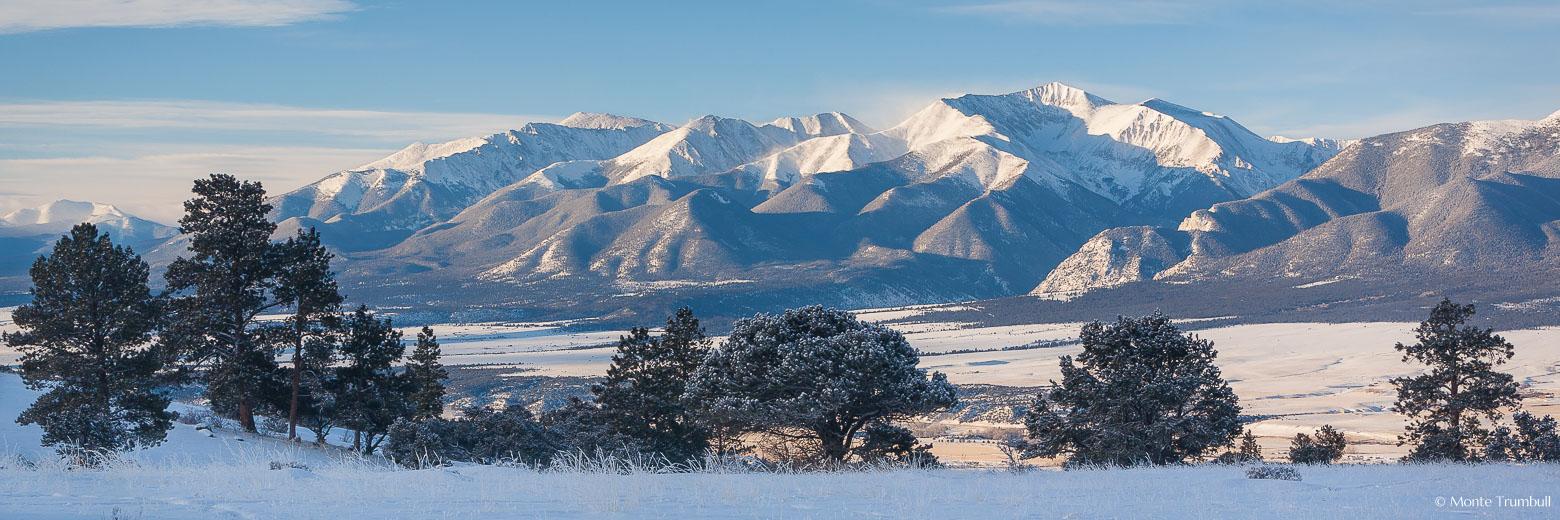 Snow blows off Mt. Antero on a brisk winter morning outside of Buena Vista, Colorado.