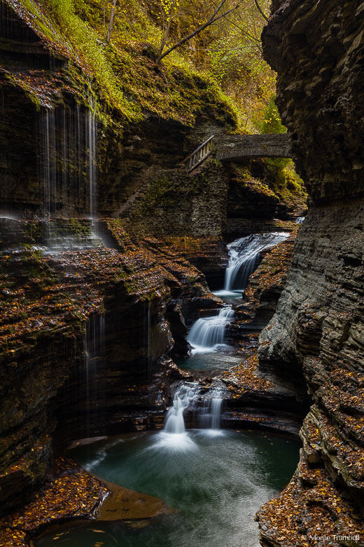 Glen Creek cascades down Rainbow Falls and spills into a calm pool surrounded by fallen autumn leaves in a narrow gorge in Watkins Glen State Park outside of Watkins Glen, New York.