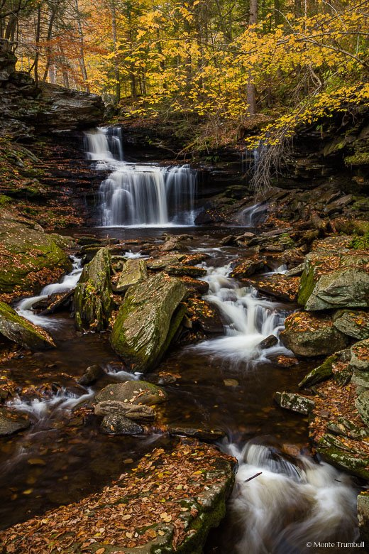 Kitchen Creek gracefully drops over B.B. Rickett Falls and winds around leaf covered rocks in autumn at Ricketts Glen State Park in northeastern Pennsylvania.