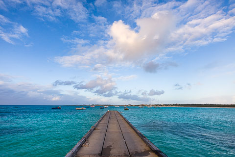A fishing pier juts into the beautiful waters of Cove Bay at Anguilla, BWI.