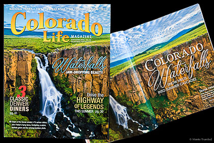 Magazine cover and inside article featuring Monte Trumbull's images are an example of rights managed licensing options available.