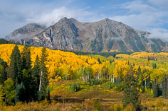 The rain stops and the clouds lift over  a valley filled with golden aspens and Beckwith Mountain in the distance outside of Crested Butte, Colorado.