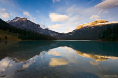 Clouds move over Emerald Lake at sunset in Yoho National Park, British Columbia, Canada.