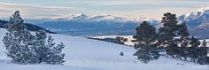 Panoramic image of the snow covered Sawatch Mountains from above Buena Vista, Colorado.