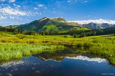 The green slopes of Mt. Bellview are reflected in a beaver pond near Gothic, Colorado.