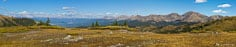 Panoramic image looking over Taylor Park from the top of Cottonwood Pass outside of Buena Vista, Colorado.