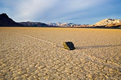 "The playa of the Racetrack and its ""moving"" rocks extends up the valley in Death Valley National Park, California."