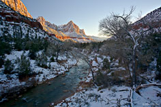 A chilly sunset along the Virgin River as The Watchman catches the last light of the day in Zion National Park in Utah.