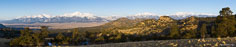 Panoramic image of the Collegiate Peaks covered in snow early in spring outside of Buena Vista, Colorado.