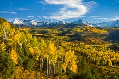 Fall color fills the hillsides and valley with the Sneffels Range coated in snow in the distance outside of Ridway, Colorado.