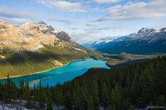 Sunrise spills into the mountainous valley and illuminates the aqua colored water of Peyto Lake in Banff National Park, Canada.