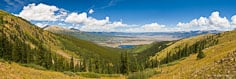 Leadville is barely visible past Mt. Elbert and Twin Lakes from a viewpoint above Granite, Colorado.