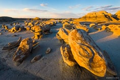 The setting sun highlights the rock formations at the Egg Factory in the Bisti Wilderness Area in New Mexico.