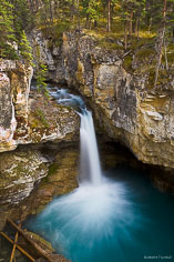 A waterfall on Beauty Creek drops into a turquoise pool in Jasper National Park, Alberta, Canada.