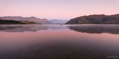 Predawn light bathes Lake Wanaka with soft pink light outside of Wanaka in New Zealand.