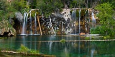 Panoramic image of the travertine water of Hanging Lake outside of Glenwood Springs, Colorado.