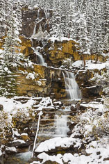 Tangle Falls flows through snow covered scenery along the Icefields Parkway in Alberta.