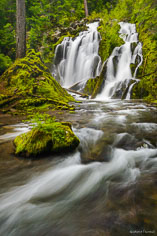 National Creek Falls splits and tumbles down a jagged basalt wall before falling into a shallow moss filled grotto in the Rogue River National Forest in southern Oregon.