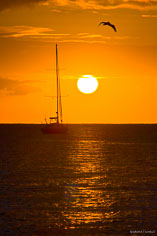 A blazing sun sets behind an anchored sailboat at Road Bay in Anguilla, BWI.