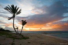 The rising sun turns the clouds and sky orange on the beach at Forest Bay in Anguilla, BWI.