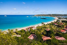 The colors of the Caribbean are seen overlooking Road Bay in Anguilla, BWI.