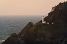 The Heceta Head Lighthouse sits nestled in the shoreline rocks along the Oregon Coast near Florence.