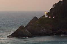 Dusk arrives at the Heceta Head Lighthouse perched 150 feet above the sea along the Oregon Coast near Florence.