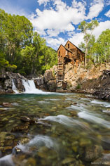 The Crystal Mill still stands along the Crystal River near the town of Crystal in Colorado.