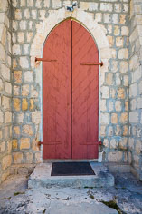 A shuttered door on the Bethel Methodist Church in Anguilla, BWI.