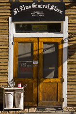 The weathered storefront of the general store in the ghost town of St. Elmo in central Colorado.