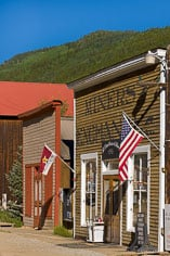 Flags are hung in front of the old general store in the ghost town of St. Elmo in central Colorado.