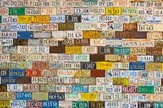 Old license plates cover a wall of an building in the ghost town of St. Elmo in central Colorado.