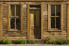 The front of a weathered old building in the ghost town of St. Elmo in central Colorado.