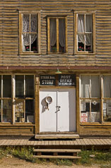 The front of the old weathered Stark Bros. Store in the ghost town of St. Elmo in central Colorado.